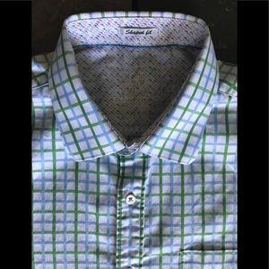 Bugatchi Shirt Large Shaped Fit Green Blue Slim